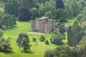 Monzie Castle aerial view